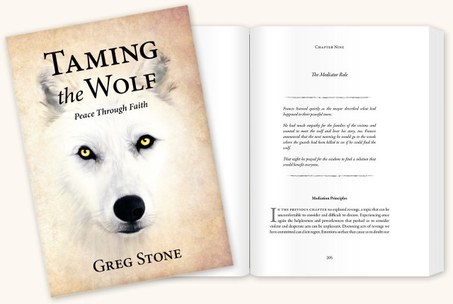Taming the Wolf: Peace through Faith Book cover and inner pages