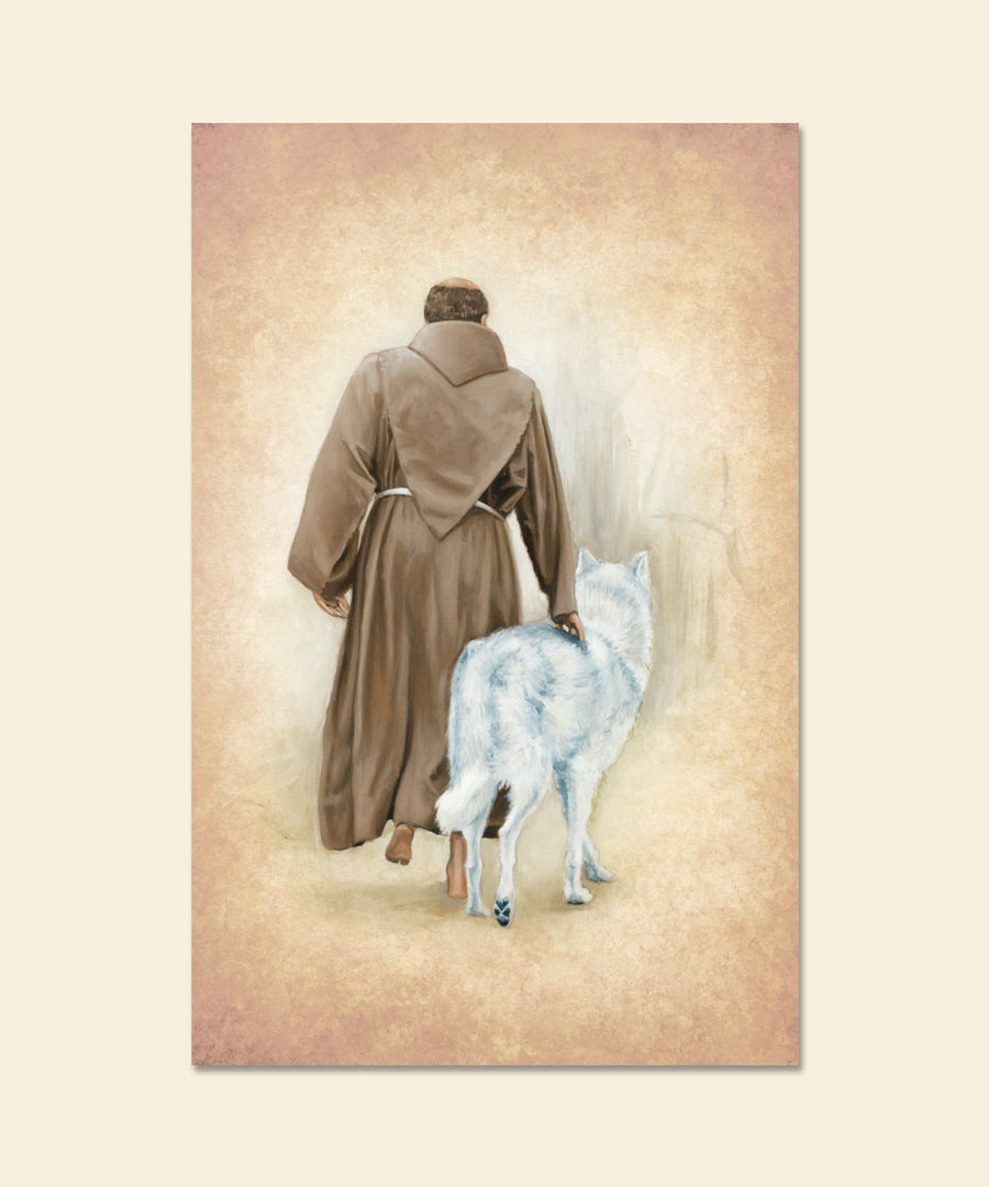 Taming the Wolf St. Francis and Wolf Greeting Card