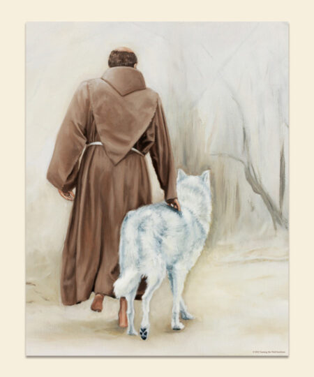 Taming the Wolf St. Francis and Wolf Poster