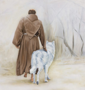 St. Francis Walking with the Wolf